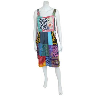 Patchwork Dungaree Dress