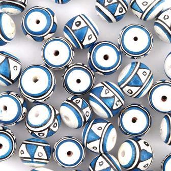 Blue Triangles Ball Bead