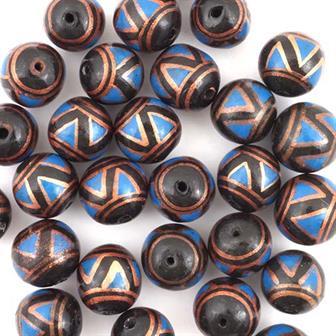Black Zig Zag Ball Bead