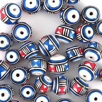 Blue, Red and White Mini Ball Bead
