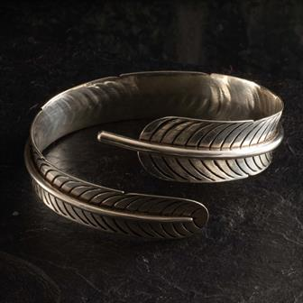 Nepalese Silver Feather Bracelet