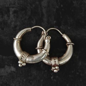 Nepalese Silver Hoop Earrings