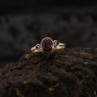 Garnet Stone Nepalese Silver Ring