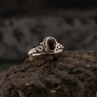 Garnet Spirals Nepalese Silver Ring