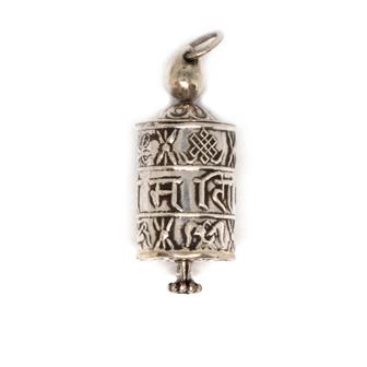 Prayer Wheel Nepalese Silver Pendant