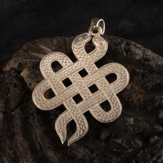 Nepalese Silver Endless Snake Pendant
