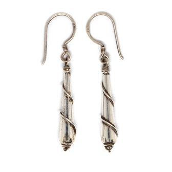 Obelisk Twist Nepalese Silver Earrings
