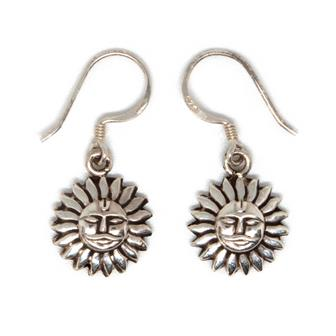 Sun Nepalese Silver Earrings
