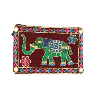 Gold Thread Elephant Purse