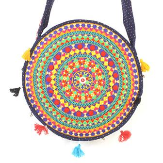 Embroidered Round Rajasthani Bag