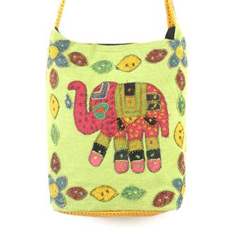 Embroidered Elephant Shoulder Bag
