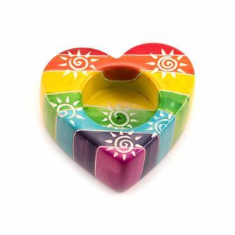 Rainbow Heart Soapstone Tea Light Holder