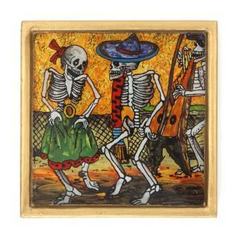 Harpist and Couple Folk Art Frame