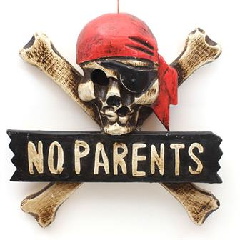 No Parents Skull Plaque