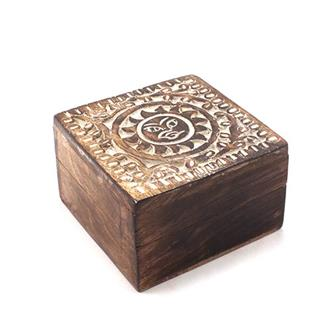 Carved Sun Mango Wood Box