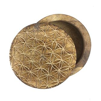 Flower of Life Mango Wood Swivel Box