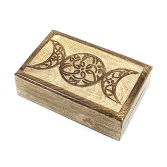 Triple Goddess Mango Wood Box