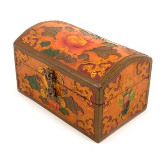 Wooden Oval Small Tibetan Box