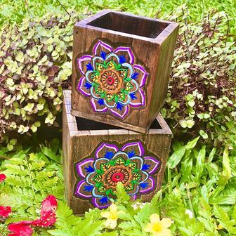 Nesting Storage Pots - Rainbow Mandala