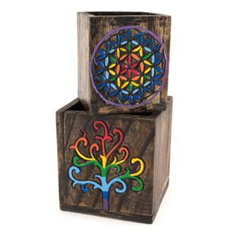 Nesting Storage Pots - Rainbow Tree and Flower of Life