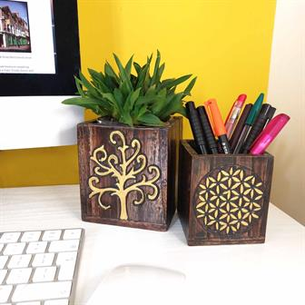 Nesting Storage Pots - Gold Tree and Flower of Life