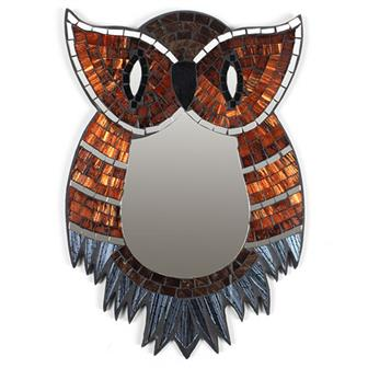Small Owl Mosaic Mirror