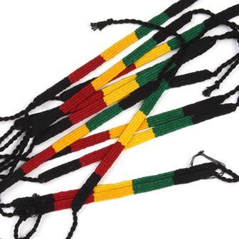 Flat Rasta Friendship Bracelets (×12)