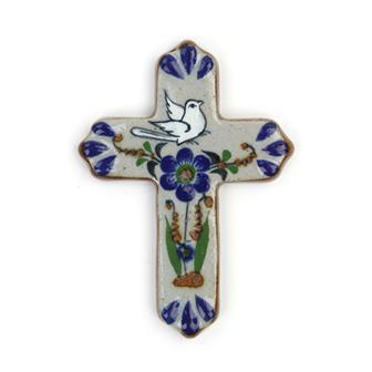 Mexican Glazed Ceramic Peace Cross
