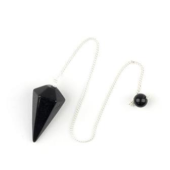 Faceted Black Obsidian Pendulum