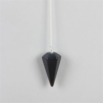 Faceted Black Obsidian Pendulum