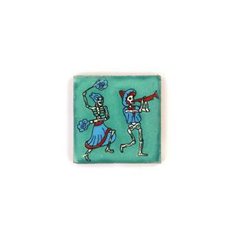 Small Ceramic Dancing Skeleton Tile