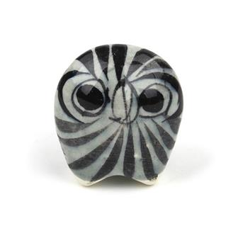 Small Glazed Ceramic Round Owl