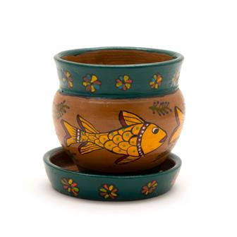 Mithila Round Pot and Saucer Small