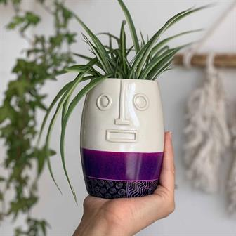 Face Soapstone Planter Tall