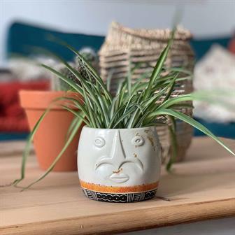 Face Soapstone Planter Short