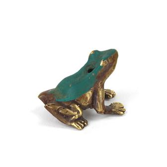 Bronze Effect Frog Incense Holder
