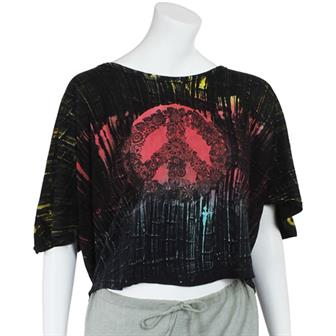Peace Brush Dyed Cropped Tee