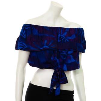 Bali Flower Bardot Top with Tie