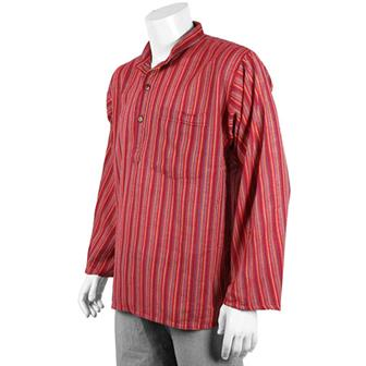 Stripy Grandad Shirt - Crimson