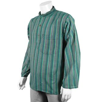 Stripy Grandad Shirt - Azul Green