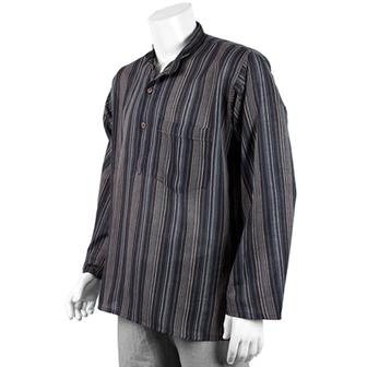 Stripy Grandad Shirt - Midnight Black