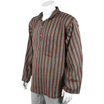 Stripy Grandad Shirt - Forest Green