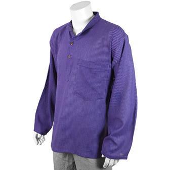 Stripy Grandad Shirt - Violet Stripe