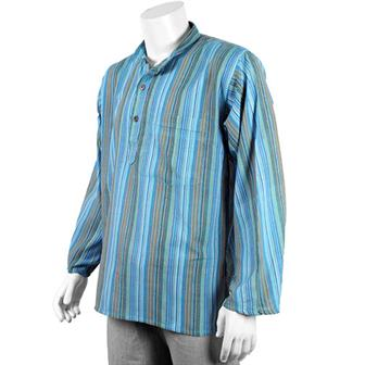 Stripy Grandad Shirt - Sky Blue