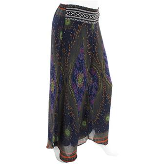 Peacock Print Thai Trim Trousers
