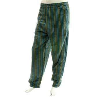 Stripy Cotton Trousers - Turquoise Mix