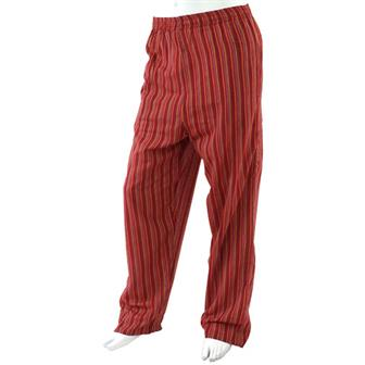 Stripy Cotton Trousers - Crimson