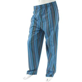 Stripy Cotton Trousers - Sky Blue