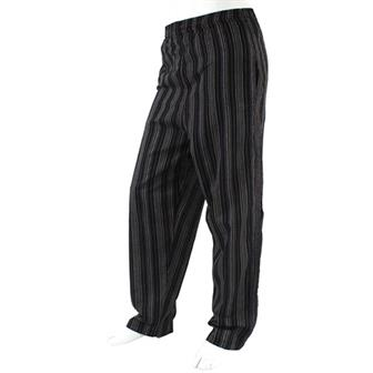 Stripy Cotton Trousers - Midnight Black