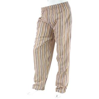 Stripy Cotton Trousers - Cream